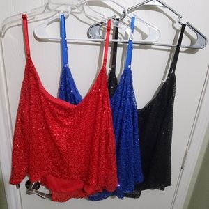 New 3 pack sequined crop plus tank tops size 3X